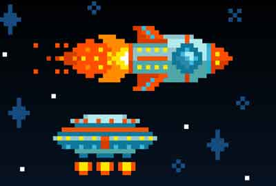 Vintage space shooter screen